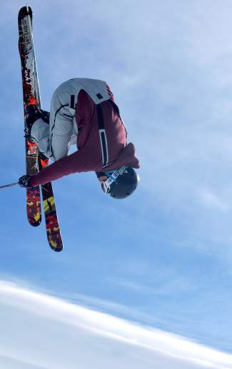 New Zealand freeskier Alec Savery corks a 720 in the Freeway jump line at Breckenridge.