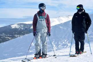 New Zealand skiers Alec Savery (left) and Miguel Porteous wait to take a lap through the Freeway jump line at Breckenridge on Jan. 10. The two spend winters training in Breckenridge before leaving for competitions in Europe, Asia and across North America.