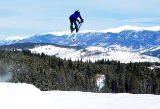 New Zealand national team member Anna Willcox tweaks a nose grab in the Park Lane jump line at Breckenridge on Jan. 10. The Olympian slopestyle competitors is recovering from an injury she suffered training on the same jumps in December 2014.
