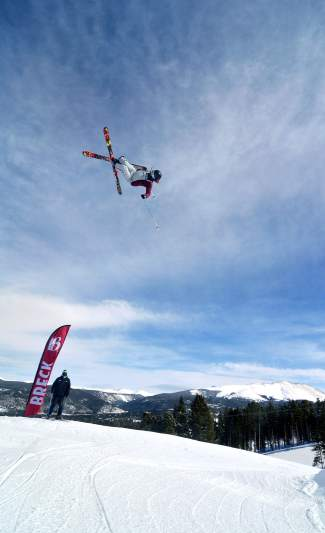 New Zealand skier Alec Savery boosts a massive 720 on the final jump in the Freeway jump line at Breckenridge. The slopestyle specialist is eyeing a spot at the 2018 Olympics and spends the majority of his winter training in Breckenridge.
