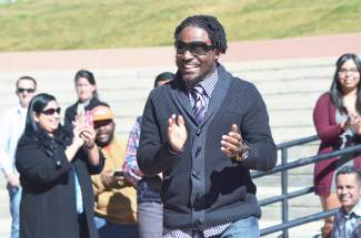 Neto Rozetta, originally from Jamaica, looks ecstatic as he becomes a naturalized citizen after living in the U.S. for the last 15 years.
