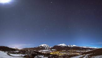 Moonlight in the top left, Town of Frisco bottom left, Jupiter top center, Winter Constellations across the center, Town of Silverthorne bottom center, and Zodiacal Light bottom right. Also pictured are 3 Mountain Ranges: Williams Fork Range in foreground, Gore Range Center, and Ten Mile Range in lower left. - Summit County, Colorado www..danielmcvey.com facebook: http://goo.gl/I7O1Hk Google+: http://goo.gl/5xc9Ob Flickr: http://goo.gl/pUXlld
