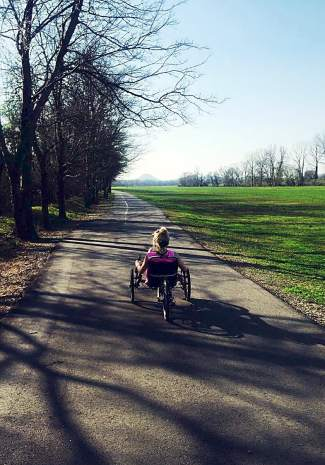 Georgiana Burnside of Little Rock, Arkansas, in an adaptive wheelchair this past fall. At 16 years old, Burnside was injured in a 2015 ski accident at Snowmass and lost most of the feeling in her legs.