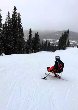Georgiana Burnside of Little Rock, Arkansas, on her first monoski trip to Winter Park this past winter. Burnside was injured in a ski accident at Snowmass in 2015 and lost most of the feeling in her legs. Less than a year later she was on a monoski and now comes to Keystone for the