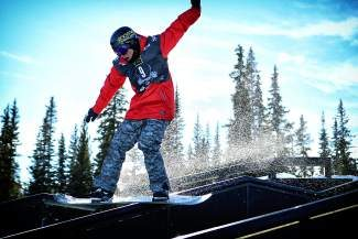 Last year's Sprint U.S. Grand Prix at Copper snowboard slopestyle winner Chas Guldemond get's in a practice run on course Tuesday. The slopestyle course was designed to replicate elements of the Olympic course in Sochi Russia.