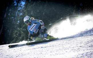 Erik Fisher carves his way downhill during a training run last Week at the U.S. Ski Team Speed Center at Copper Mountain. After opting out of competition last season to fully recover from ACL surgery , Fisher tallied two first place finishes in FIS downhill races over the weekend.