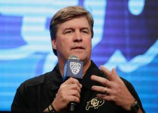 Colorado head coach Mike MacIntyre talks to the media during the NCAA college football Pac-12 Media Day on Friday, July 26, 2013, in Culver City, Calif. (AP Photo/Jae C. Hong)