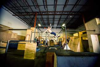 Parkour at the Apex Movement gym in Denver.