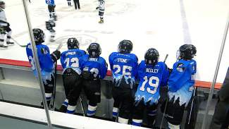 The Summit PeeWee A team bench watches the action on the ice during the Colorado state final at Pepsi Center on March 13. The team beat Boulder 4-1 for the club's first state title.
