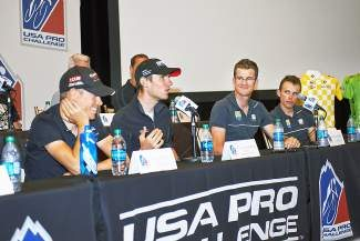 Tejay van Garderen (center), Tom Danielson (left) and other top riders discuss this years USA Pro Challenge at the pre-race press conference in Aspen Sunday. The race starts with the Stage 1 Aspen Circuit Course Monday.