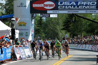 The chase group crosses the finish line on Main Street Breckenridge nearly 10 seconds after BMC Racing's Rohan Dennis took Stage 4 of the USA Pro Challenge on Aug. 20.