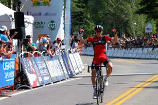 Dennis Rohan of BMC Racing rides alone past the finish line after taking first at Stage 4 of the USA Pro Challenge in Breckenrige on Aug. 20.