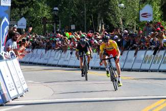 BMC Racing's Brent Bookwalter fights off Robbie Squire of Hincapie Racing to take second at Stage 4 of the USA Pro Challenge on Main Street Breckenridge Aug. 20.