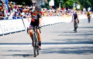 Tayler Wiles celebrates winning stage 2 of the women's USA Pro Challenge Saturday, Aug. 22, 2015.