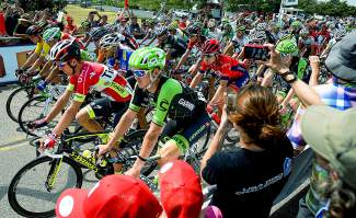 Riders take off from Loveland, CO for stage 6 of the USA Pro Challenge Saturday, Aug. 22, 2015.