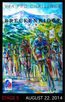 Artist David V. Gonzales' winning piece for the Breckenridge stage of the USA Pro Challenge is titled 'Destination.' Through bright colors and swift movement, the piece captures the essence of the Pro Cycling Challenge's intense finish.