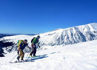 Teague Holmes (front) and Fritz Sperry skin along the final stretch of the East Ridge en route to the summit of Quandary Peak, the only 14er within easy driving distance of Breckenridge. The two have skied dozens of lines off the surrounding peaks.