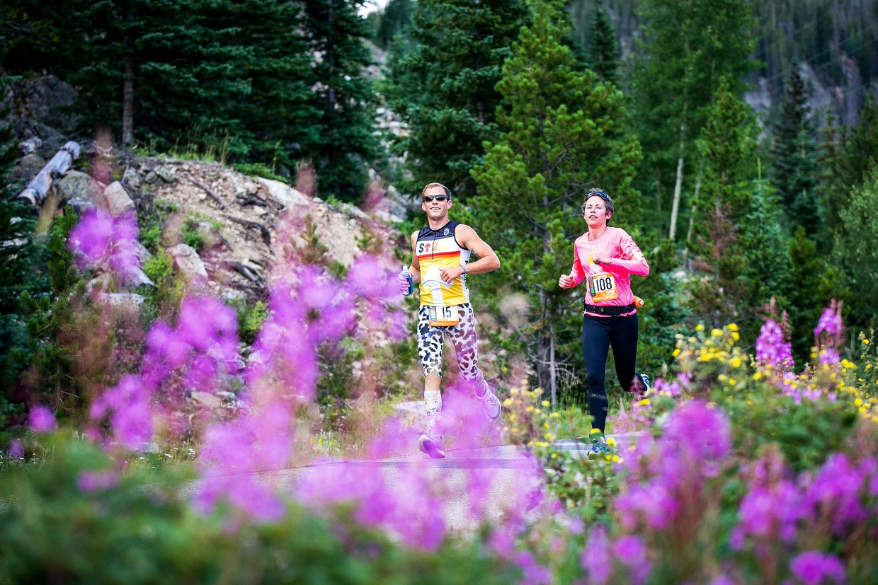 A duo of runners on the course during the 2015 Ragnar Relay Colorado, a two-day event for teams of 6 or 12 on a high-altitude course between Copper Mountain and Aspen Snowmass. The event returns this Friday and Saturday when runners pass through Summit County for the first leg.
