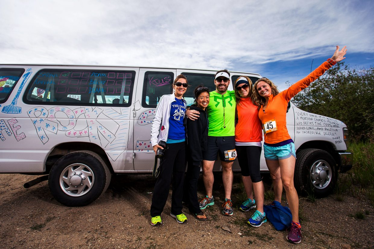 A Ragnar Relay team with their lifeline: a decorated support van. During the two-day, 190-mile relay from Copper Mountain to Aspen Snowmass, runners are followed in the vans by their teammates and support staff as they run through the day and night.