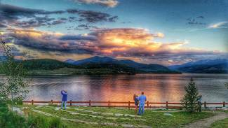 Lake Dillon aglows Saturday evening.