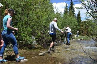 Members of a small tour group consisting of Summit County government, the U.S. Forest Service and Great Outdoors Colorado (GOCO) forded one of a handful of small stream crossings along the county's proposed Fremont Recpath on Monday, June 20.