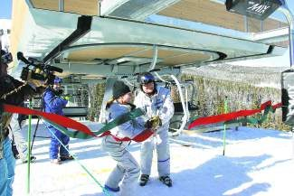 Breckenridge Ski Resort COO Pat Campbell and director of mountain operations Gary Shimanowitz cut the ribbon officially opening the Kensho SuperChair, which accesses the mountain's new Peak 6 terrain at Breckenridge. The resort opened around 200 of its 540 new acres of terrain to the public Christmas Day.