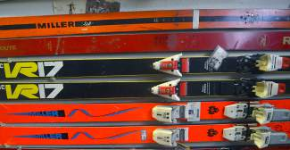 Skis on the Dead Man's Wall in Pup Ascher's ski shop in Breckenridge. The name is his own.