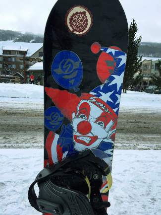 A 1992 Sim Shaun Palmer pro model. Owner Ryan Hyland nearly lost it just weeks after buying it in college when a young snowboarder either stole it or bought it from someone who had. Either way, he found it strapped to the youngster's feet the next weekend.