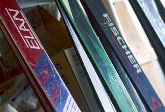 Phil Kopp's collection of vintage skis, including Elan, Molnar and Yamaha models from the '70s. When he and his wife moved homes, he gave away most of the skis he gathered since moving to Colorado in 1974.