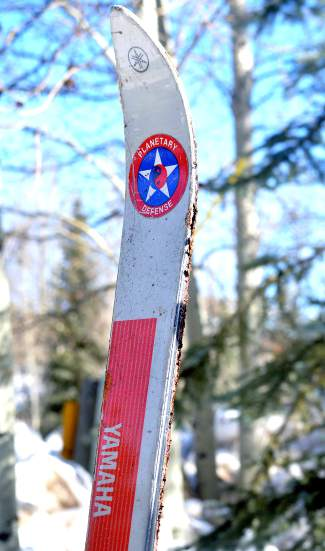 The sole Yamaha Paramount XAM ski remaining in Phil Kopp's collection, complete with a sticker for Planetary Defense, the