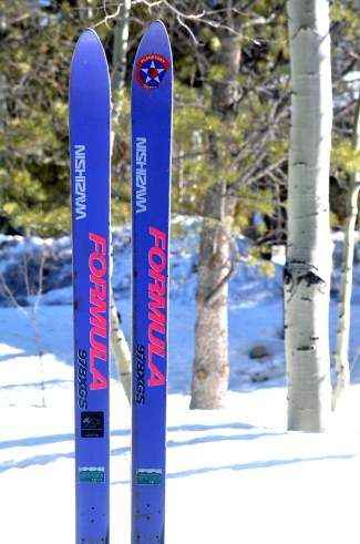 A pair of Phil Kopp's favorite vintage skis, the '70s-era Nishizawa Formula 978 XGS from Japan.