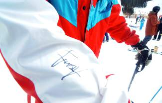 Breck skier Bobby Brown's signature on the sleeve of an '80s onesie that William Haass of Denver inherited from his father.