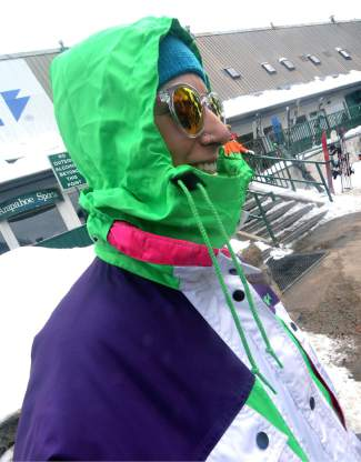 The hide-away hood in the '80s Nevica jacket Natalie Norris borrowed from her mom in time for Gaper Day at Arapahoe Basin.