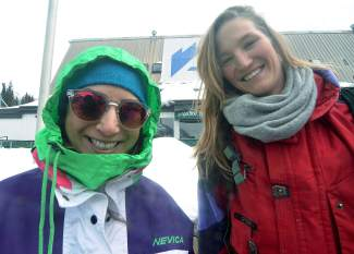 Even mom had style: Natalie Norris (left) and Traesa Kinney, both of Breckenridge, raided their parent's and friend's closests for Gaper Day goods. Norris, 25, found her mom's vintage Nevica jacket and Kinney wore a '90s Spyder top from her friend's dad. Will either one of them return the gear?