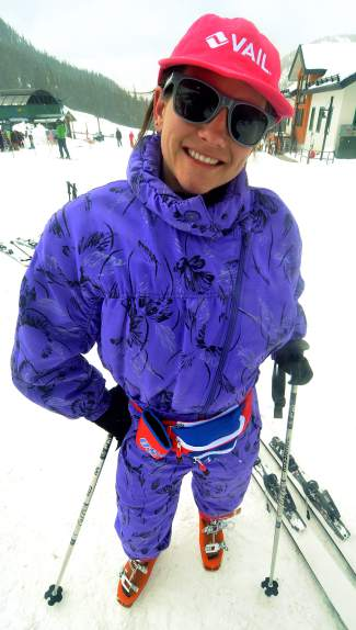 The fart bag: Onesie is so passe. Instead, Tahoe-area local Jenna Ramos, 27, is trying on the term fart bag. But it's not the only nickname she has for the purple patterned suit she found in Maine for $5 and brought to Arapahoe Basin.