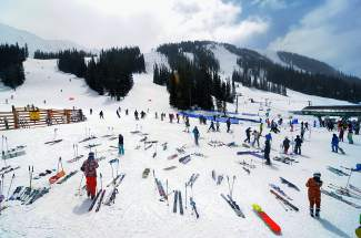 The scene at the base of Black Mountain Express on Gaper Day at Arapahoe Basin.