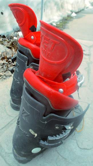 A pair of Kastinger alpine boots fitted with Jet Stix, long-gone '70s attachments made to extend the length of ski boots in an era when most boots ended just above the ankle.