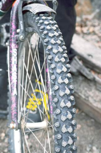 Worn-down studs on Doc PJ's Shasta mountain bike. Just about every morning in winter, the longtime Breckenridge local pedals about 4 miles from his home downtown to Peak 8 for a single skin ascent and single ski descent. This season is his first without a chairlift ride.
