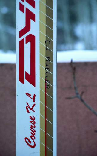 C.J. Mueller's Dynastar Course KL speed ski (240 cm long, 70 mm underfoot). He rode this marked pair on the World Cup circuit and at the 1992 Winter Olympics in Albertville.