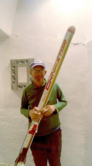 C.J. Mueller with his Dynastar Course KL, the ski he was wearing when he set the world speed-skiing record in 1987. He went 130 miles per hour in Les Arcs, France.