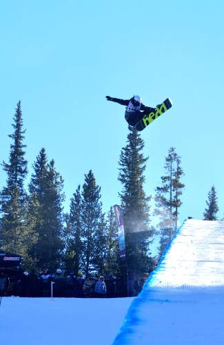 Justin DeCastris of Quebec pokes a shifty on his first hit of the USASA Revolution Tour halfpipe qualifer on Dec. 2 at Copper Mountain. DeCastris took 9 out of 13 competitors.