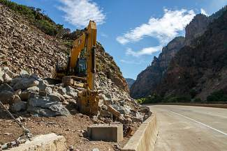 Equipment is in place to continue work on rockfall mitigation in Glenwood Canyon.