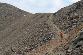 The cairn-marked route to Grays Peak from the Summit County trailhead at Argentine Pass. Most hikers opt instead for the Clear Creek County trailhead, which makes the Summit route emptier — and more intimidating.