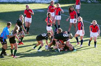The Summit High School rugby team battles Chaparral for the Colorado state championship at Inifnity field in Denver Saturday. The Tigers would go on to win 64-7 to claim their eighth straight title.