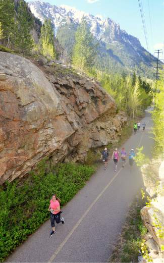 A group of runners winds through Tenmile Canyon during the 2016 Run the Rockies road race on June 4. The 40th anniversary of the June 10K and half marathon drew more than 400 runners from across Colorado and the West.