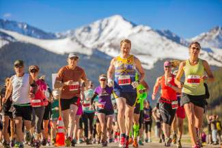 Runners leave the Copper Mountain start line at the 2016 Run the Rockies 10K and half marathon on June 4. More than 400 runners came to Summit County for the 40th anniversary of the race, known as the unofficial start of road race season in the Rockies.