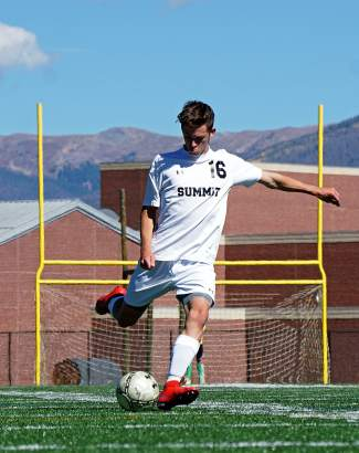 Summit High's Cole Catron takes a shot during the first half of a varsity soccer game in Summit on Sept. 19. The Tigers beat the Palisade Bulldogs 3-0.