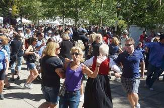 People took advantage of Those Austrian Guys playing the 'Chicken Dance' song on the Blue River Plaza during a recent Breckenridge Oktoberfest. Today is the last day of Breckenridge Oktoberfest, with beer, food, music and dancing from 10 a.m. to 5 p.m. on Main Street. Visit www.gobreck.com for more information.