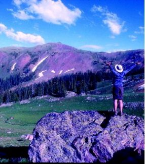 Summit Daily/Reid Williams The photographer celebrates a 3,000-foot day - Eccles Pass to Uneva Pass.