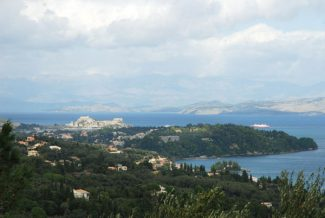 Special to the Daily/Leigh WaddenCorfu's eastern coastline from the Achillion Palace, with the Venetian fortress visible